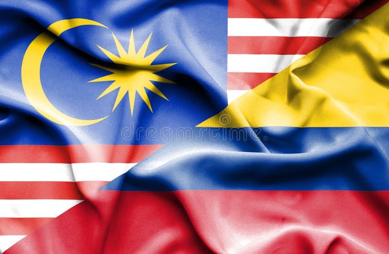 哥伦比亚和马来西亚的挥动的旗子 向量例证