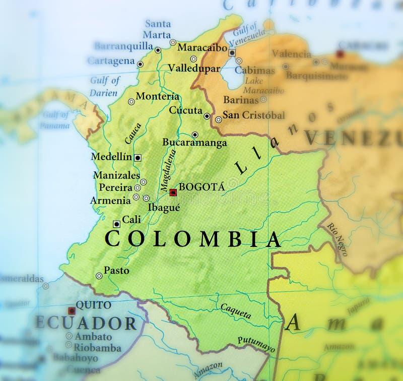 哥伦比亚国家地理地图有重要城市的 免版税库存照片