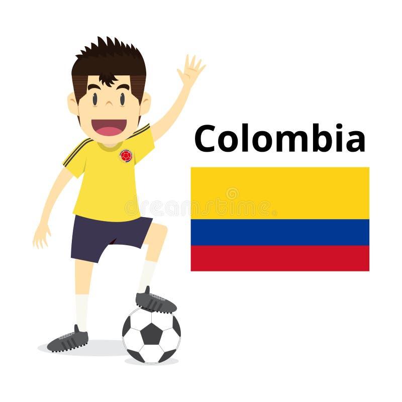 哥伦比亚国家队动画片,橄榄球世界,国旗 2018年 库存例证