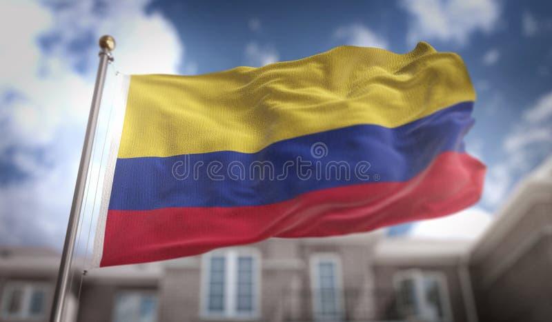 哥伦比亚在蓝天大厦背景的旗子3D翻译 免版税图库摄影