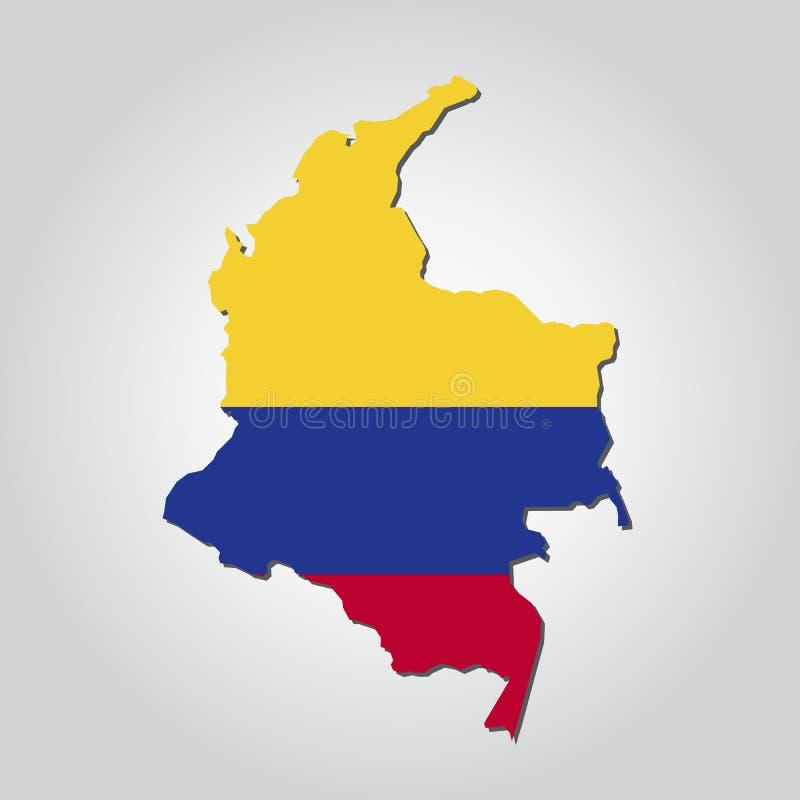 哥伦比亚地图旗子 向量例证
