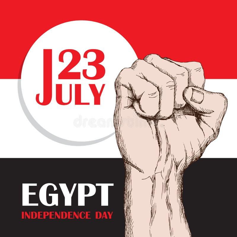 哥伦比亚埃及的独立日 7月23日 全国爱国假日解放在北非 握紧的人 库存例证