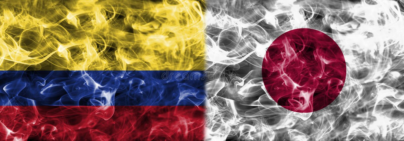 哥伦比亚对日本烟旗子,小组H,国际足球联合会橄榄球世界杯2 库存例证