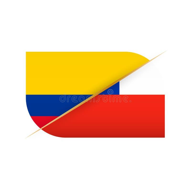 哥伦比亚对智利,体育竞赛的两面传染媒介旗子象 库存例证