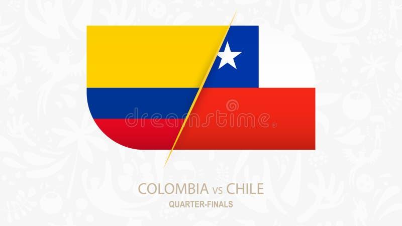 哥伦比亚对智利,足球比赛四分之一决赛  皇族释放例证