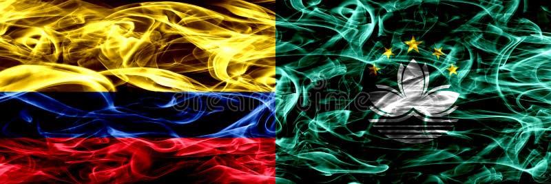 哥伦比亚对澳门,中国烟旗子肩并肩安置了 哥伦比亚和澳门,中国厚实的色的柔滑的烟旗子  库存例证