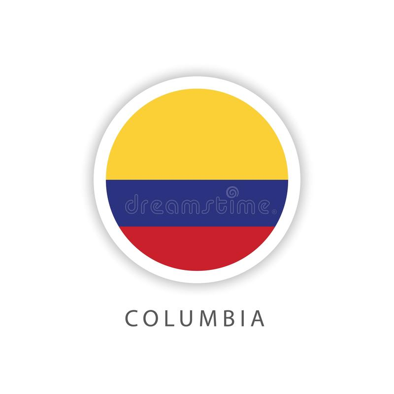 哥伦比亚按钮旗子传染媒介模板设计以图例解释者 免版税库存图片