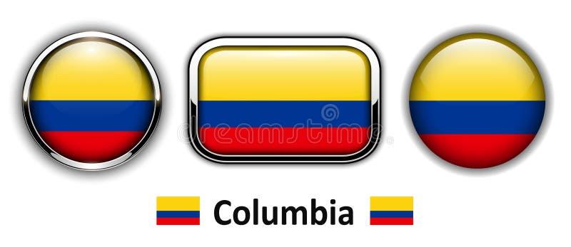 哥伦比亚旗子按钮 向量例证