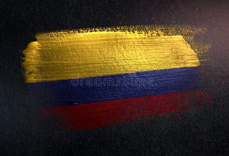 哥伦比亚旗子由金属刷子油漆制成在难看的东西黑暗墙壁 图库摄影