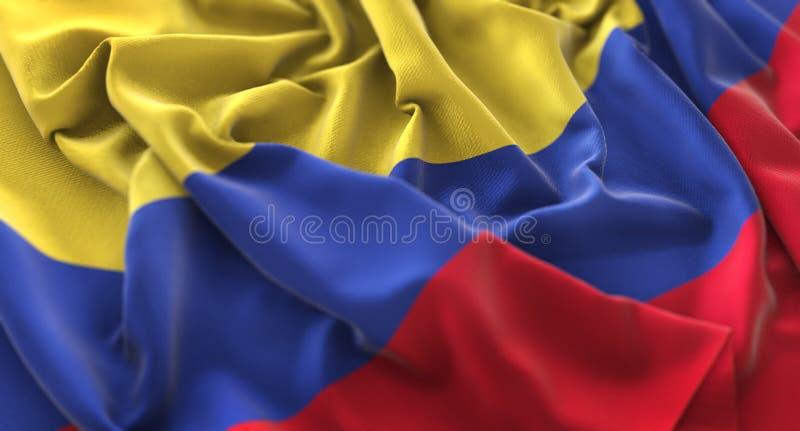 哥伦比亚旗子被翻动的美妙地挥动的宏观特写镜头射击 库存图片