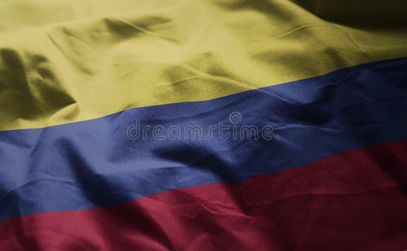 哥伦比亚旗子起皱了接近  库存照片