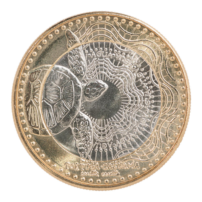 哥伦比亚比索硬币 免版税库存照片