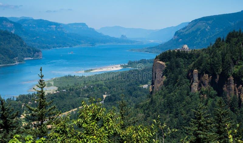 哥伦比亚河峡谷-俄勒冈,美国的全景 免版税库存照片
