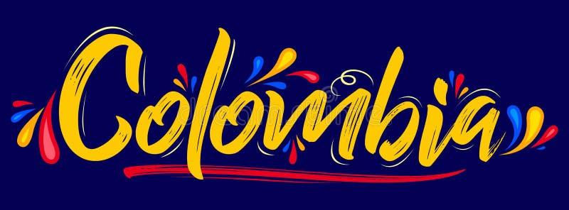 哥伦比亚爱国横幅设计哥伦比亚的旗子颜色传染媒介例证 向量例证