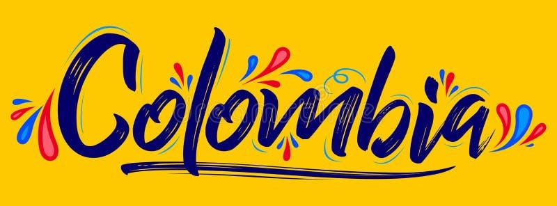 哥伦比亚爱国横幅设计哥伦比亚的旗子颜色传染媒介例证 库存例证