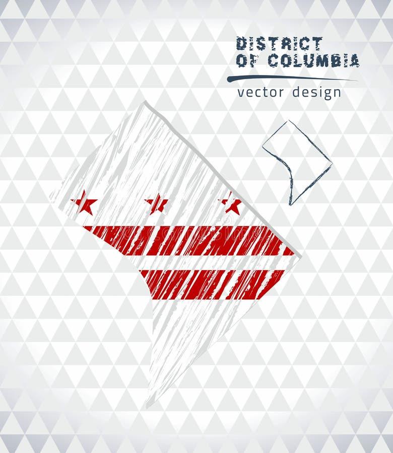 哥伦比亚特区与在白色背景隔绝的旗子里面的传染媒介地图 剪影白垩手拉的例证 向量例证