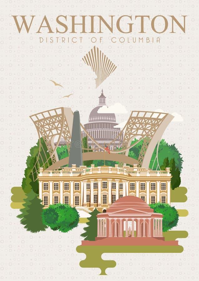 哥伦比亚特区传染媒介海报 美国旅行例证 美利坚合众国五颜六色的卡片 华盛顿 减速火箭的样式 库存例证