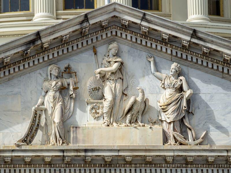 哥伦比亚特区华盛顿[美国国会大厦,建筑细节] 图库摄影