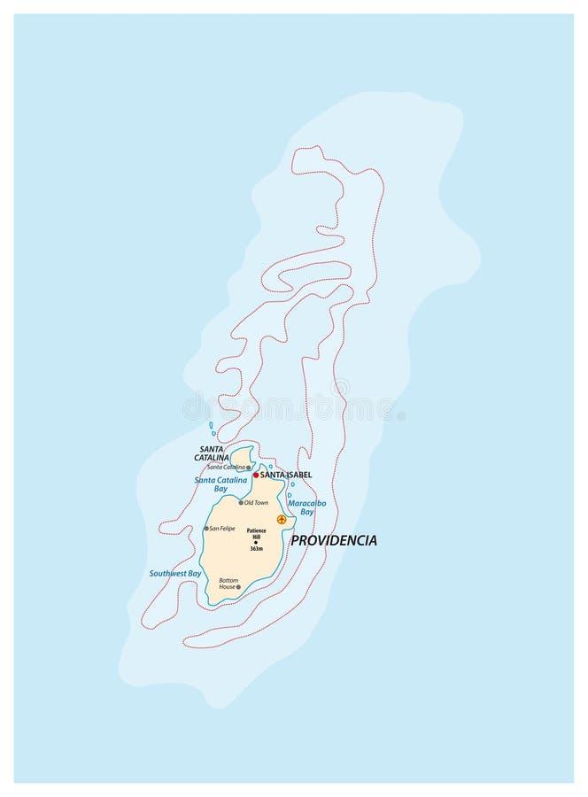 哥伦比亚的加勒比岛普罗维登西亚和圣卡塔利娜的小概述地图 皇族释放例证
