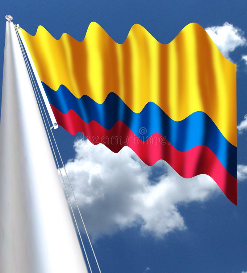 哥伦比亚的国旗被采取了1861年11月26日 它是一水平三色的黄色、蓝色和红色 黄色s 皇族释放例证