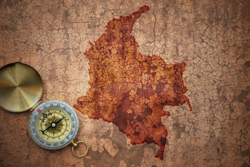 哥伦比亚的地图一张老葡萄酒裂缝纸的 免版税库存照片