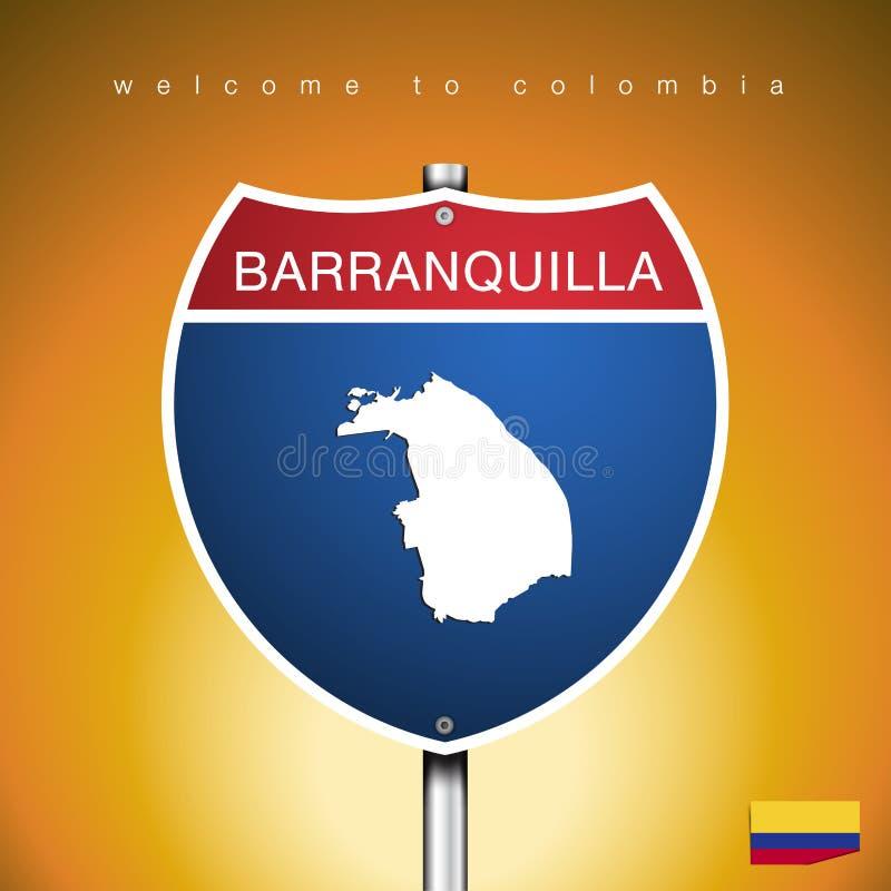 哥伦比亚的城市标签和地图美国标志样式的 向量例证