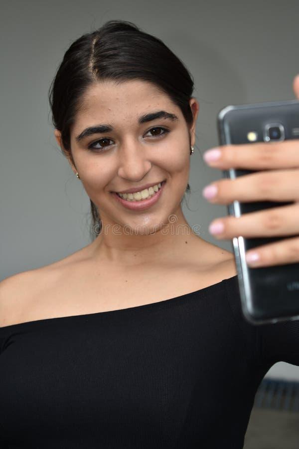 哥伦比亚的女孩Selfie 免版税库存图片