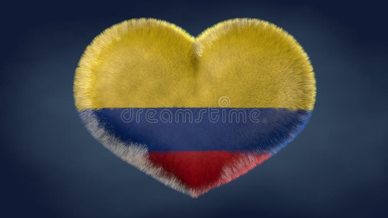 哥伦比亚的旗子的心脏 库存例证