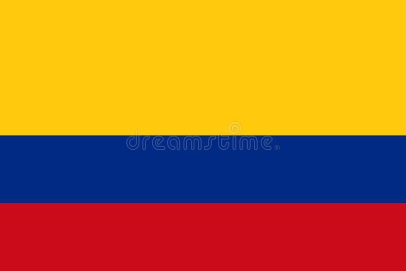 哥伦比亚的旗子,平的布局,例证 库存例证