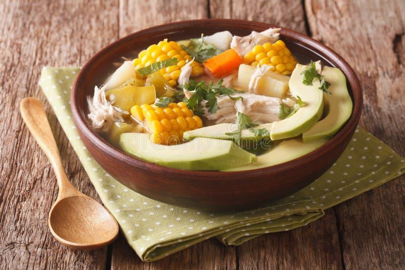 哥伦比亚的烹调:与鸡的ajiaco汤和菜关闭 库存图片