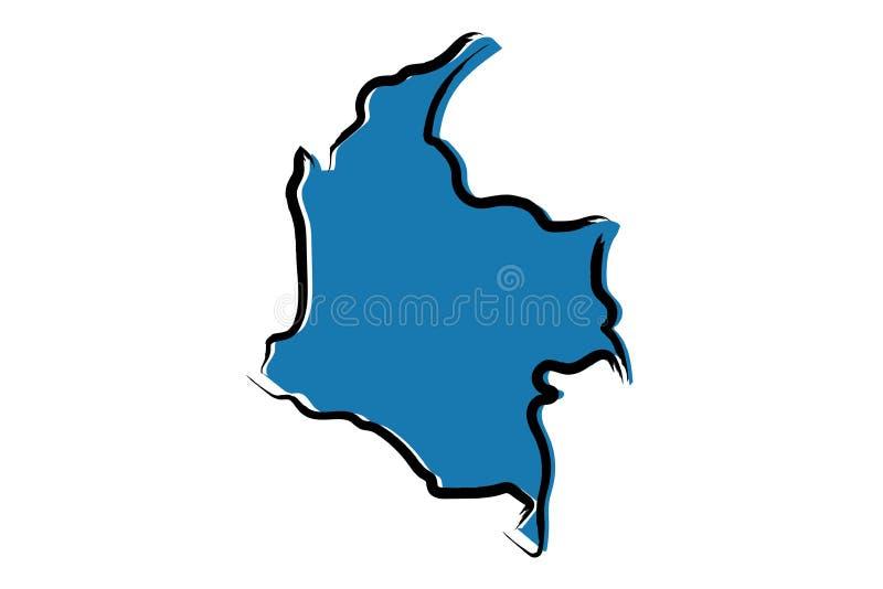 哥伦比亚的风格化蓝色略图 向量例证