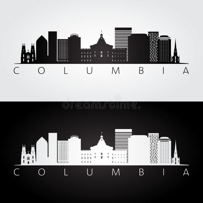 哥伦比亚美国地平线和地标剪影 皇族释放例证