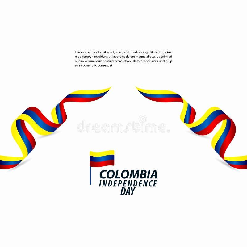 哥伦比亚美国独立日庆祝传染媒介模板设计例证 库存例证