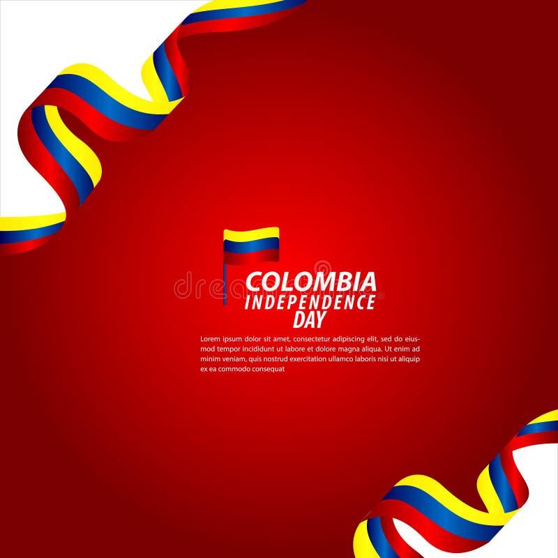 哥伦比亚美国独立日庆祝传染媒介模板设计例证 向量例证