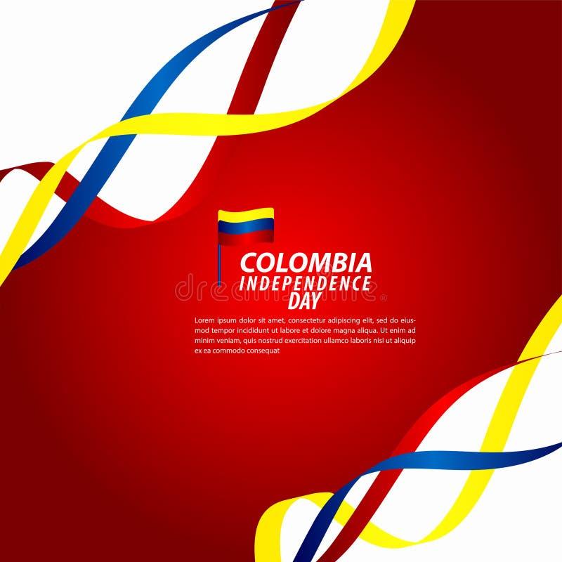 哥伦比亚美国独立日庆祝传染媒介模板设计例证 皇族释放例证