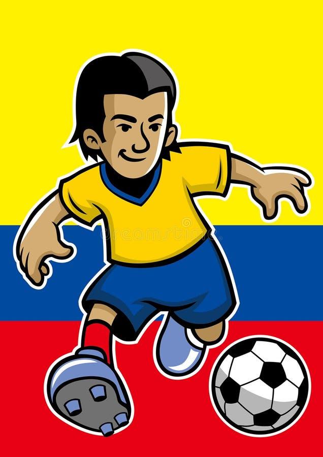 哥伦比亚足球运动员有旗子背景 皇族释放例证