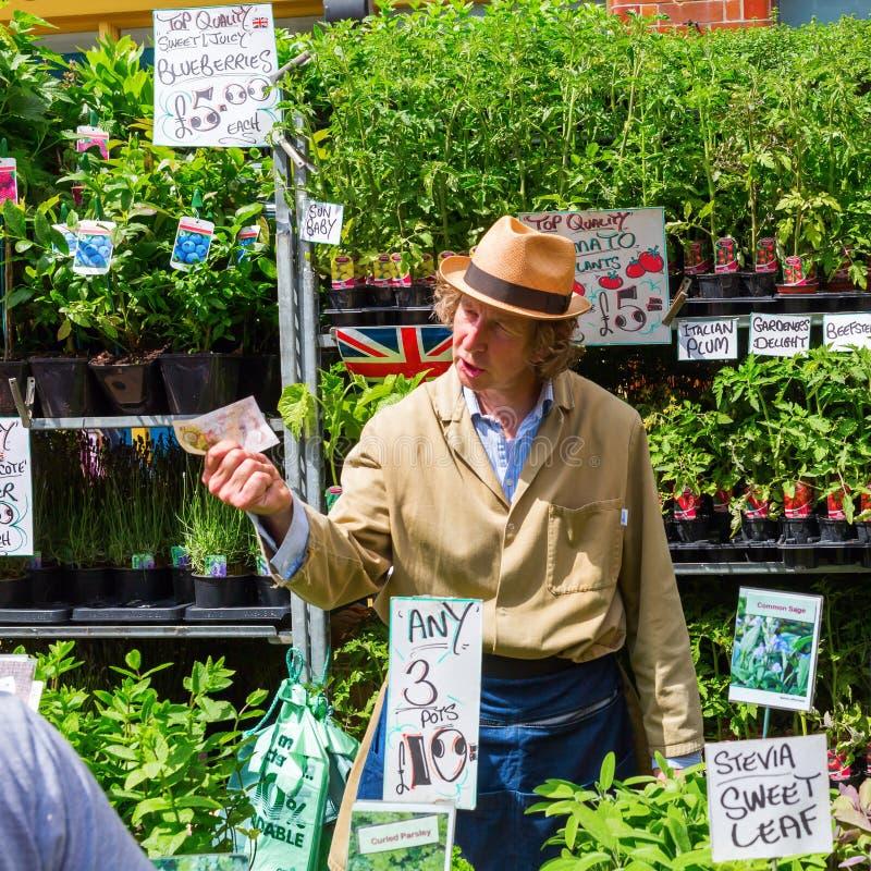 哥伦比亚路花市场在伦敦,英国 库存图片