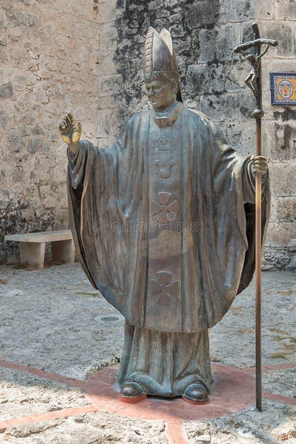 哥伦比亚,卡塔赫钠,教宗若望保禄二世雕象 免版税库存照片