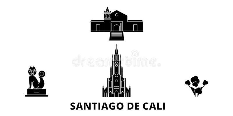 哥伦比亚,圣地亚哥De卡利平的旅行地平线集合 哥伦比亚,圣地亚哥De卡利黑色城市传染媒介例证,标志 库存例证