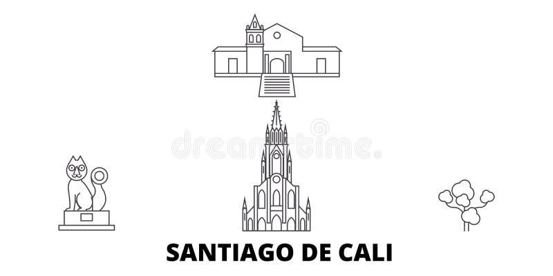 哥伦比亚,圣地亚哥De卡利线旅行地平线集合 哥伦比亚,圣地亚哥De卡利概述城市传染媒介例证,标志 向量例证