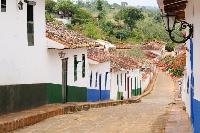 哥伦比亚, Barichara村庄的街道 库存图片