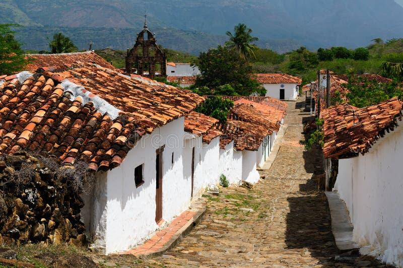 哥伦比亚, Guane殖民地村庄 库存图片
