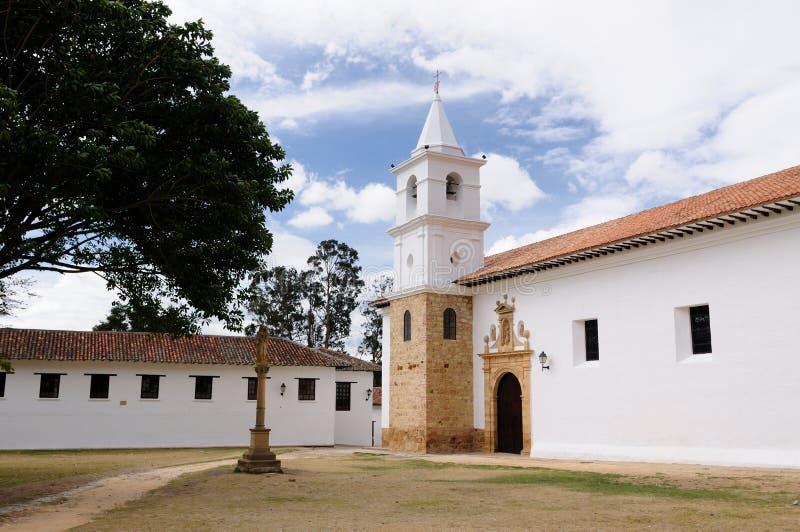 哥伦比亚, Villa de Leyva殖民地结构 免版税库存照片