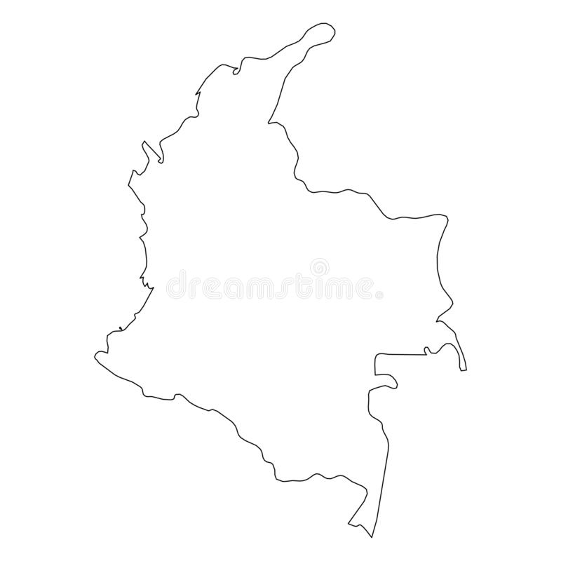哥伦比亚-国家区域坚实黑概述边界地图  简单的平的传染媒介例证 库存例证