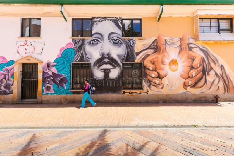 哥伦比亚Chia壁画在历史的中心 库存照片