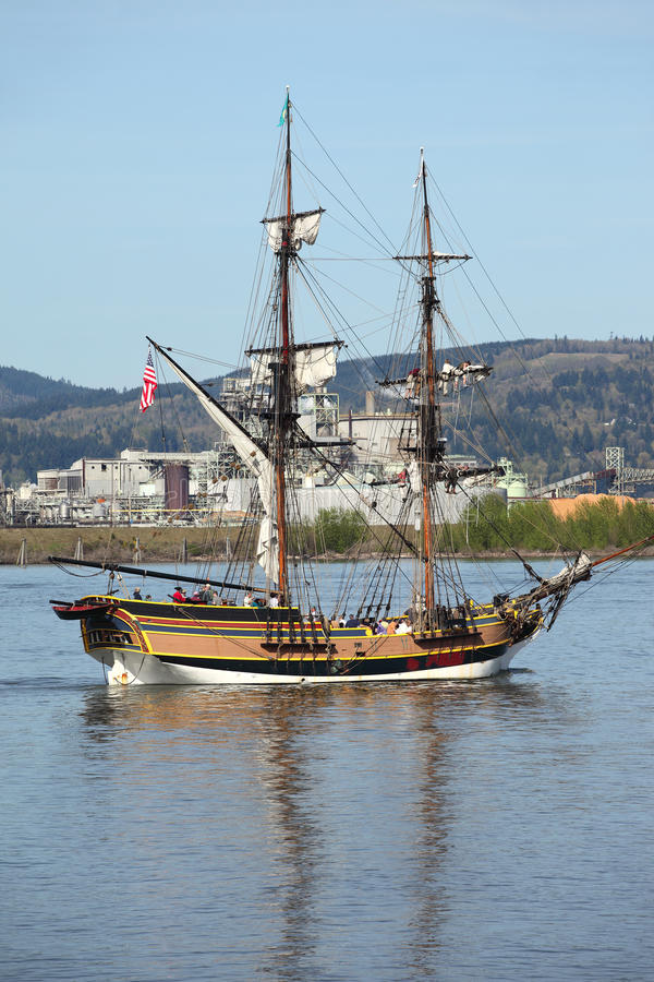 哥伦比亚galleon河航行 库存图片