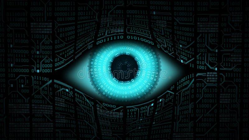 哥哥电子眼睛概念、计算机系统技术全球性监视的,安全和网络 库存例证