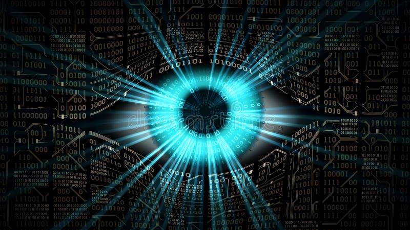 哥哥电子眼睛概念,计算机系统技术全球性监视的,安全和网络