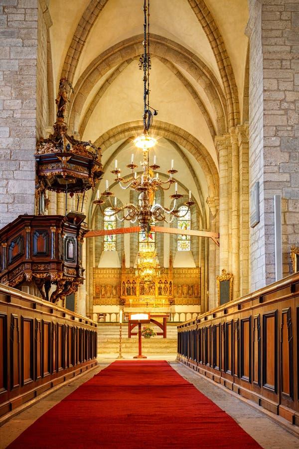 哥得兰岛的,瑞典维斯比大教堂 库存图片