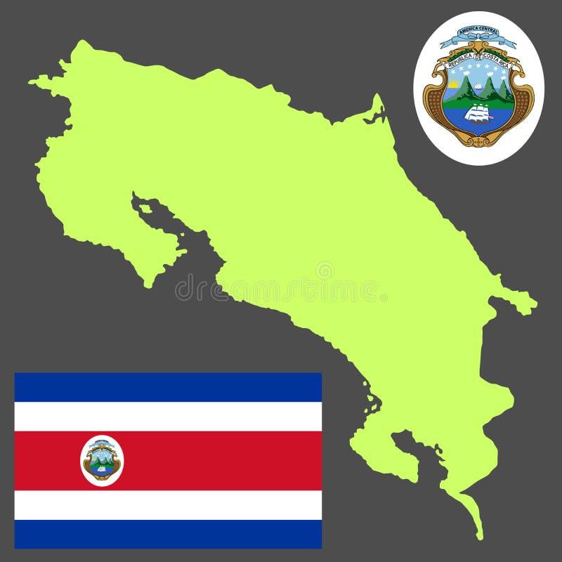 哥斯达黎加共和国地图剪影、徽章和旗子 库存例证